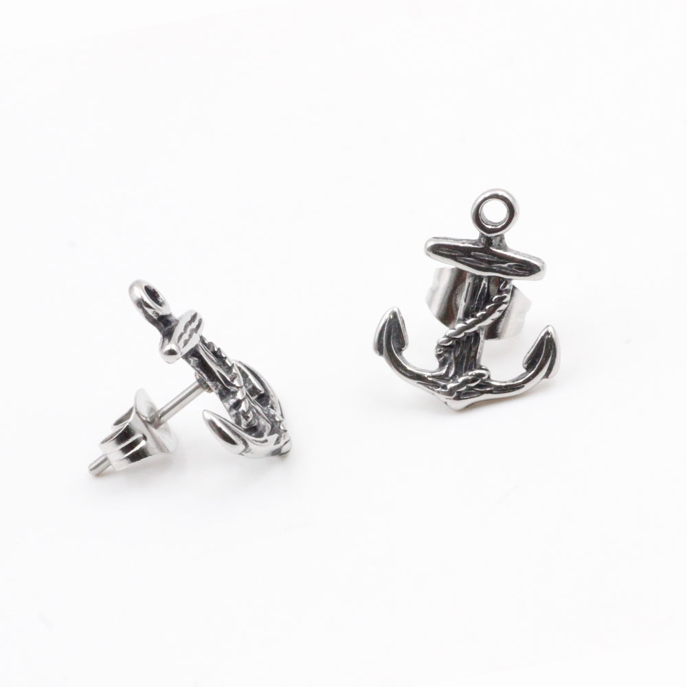 Earrings  Anchor Silver in Stainless Steel Ideal Gift
