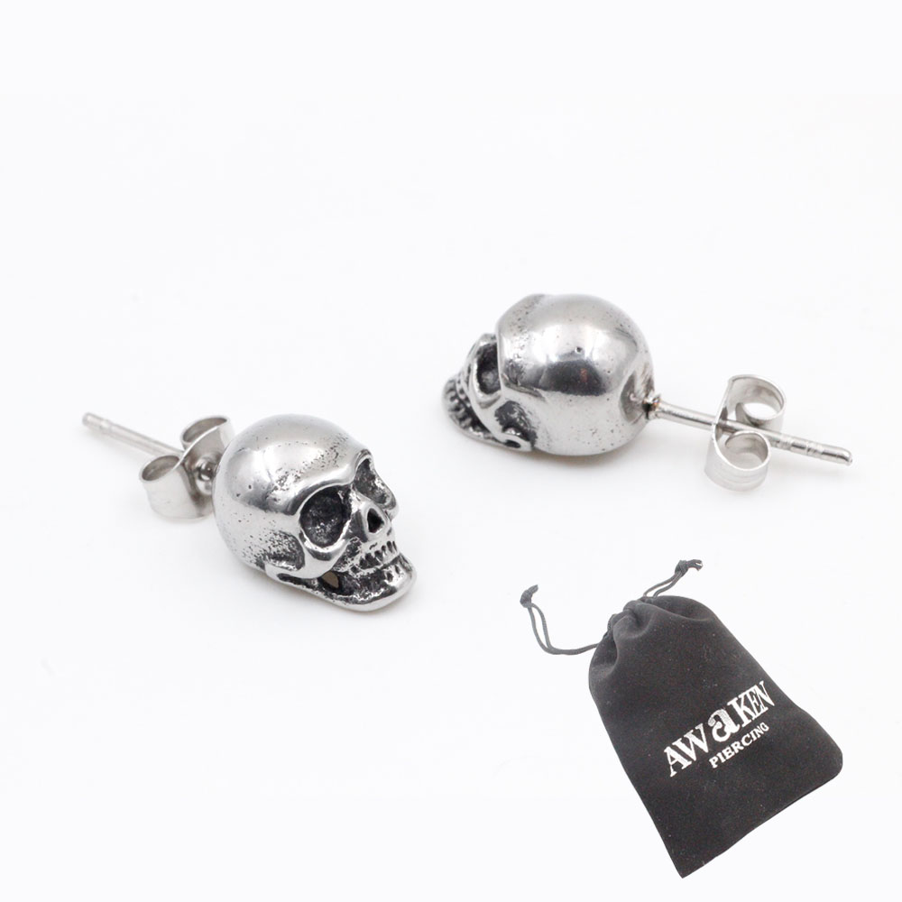 Earrings  Skull Silver in Stainless Steel Ideal Gift