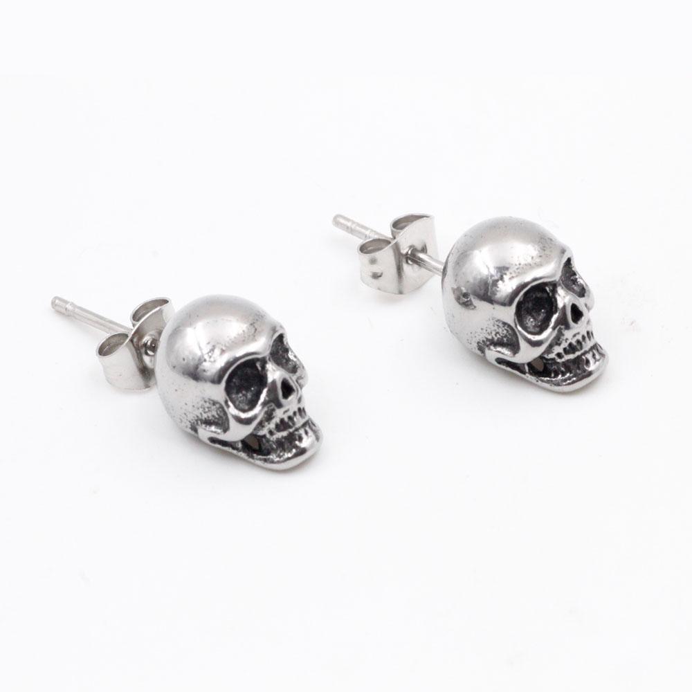 Earrings  Skull Silver in Stainless Steel Ideal Gift