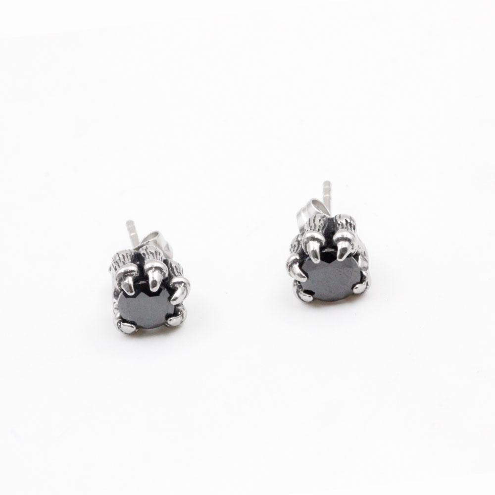 Earrings Stainless Steel Dragon Claw Zirconia Black Stone punk