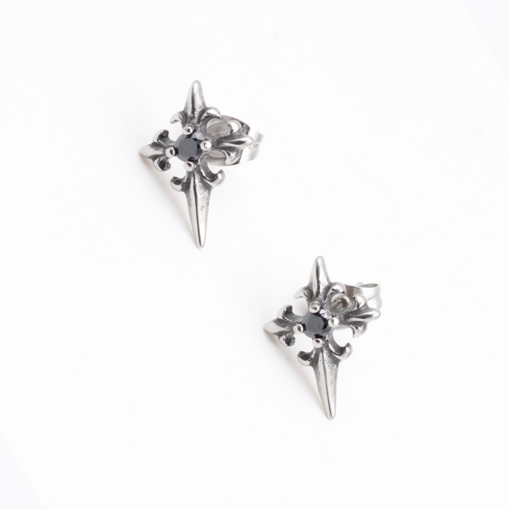 Four-Pointed Earrings with Black Stone in Stainless Steel Ideal Gift