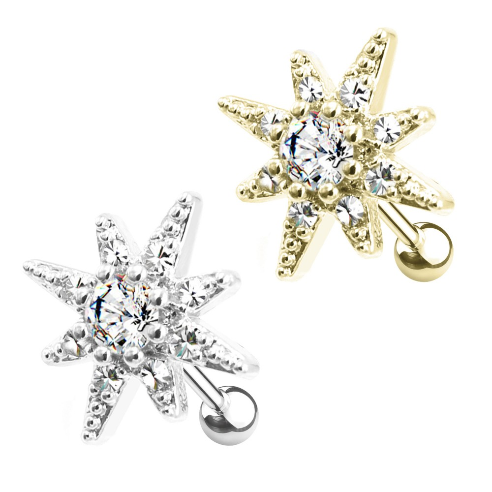 PO-341 Cartilage Studs Polar Star with Crystals