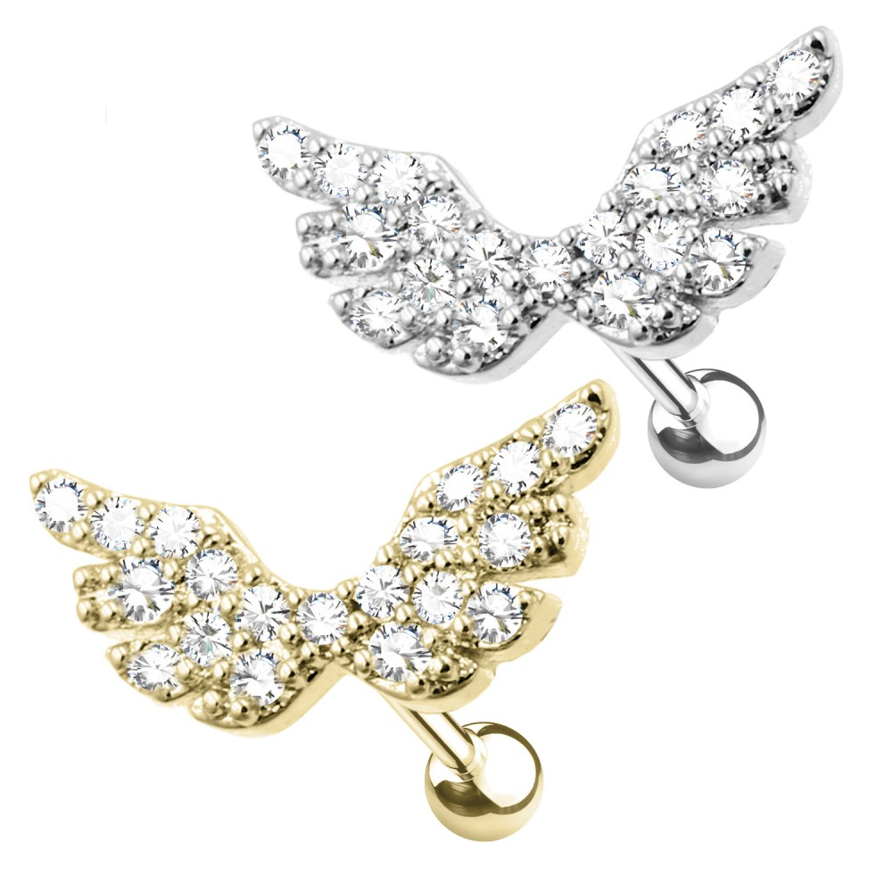 Cartilage Studs Angel Wings with Crystals