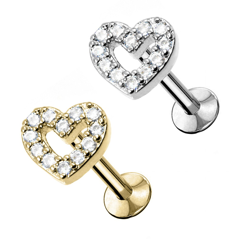 Studs Cartilage Heart with crystals