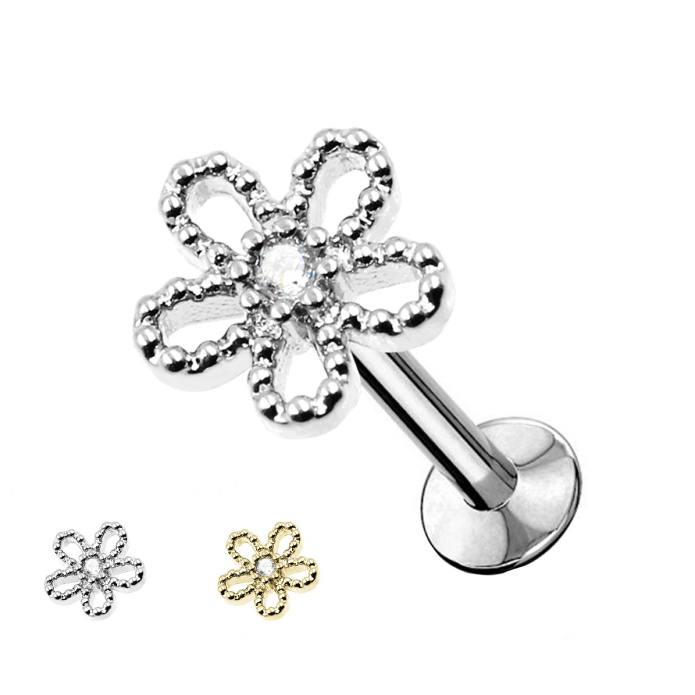 Studs Cartilage Flower with crystals