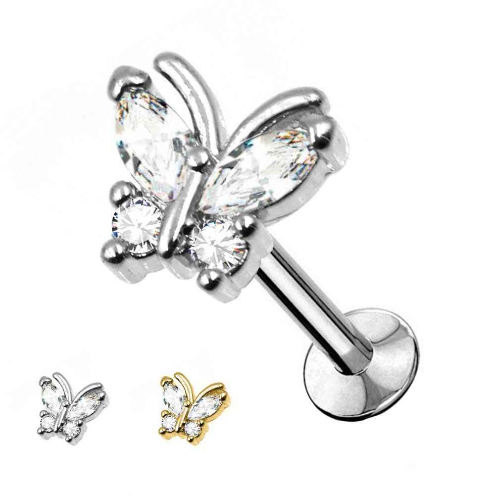 Studs Cartilage butterfly with crystals