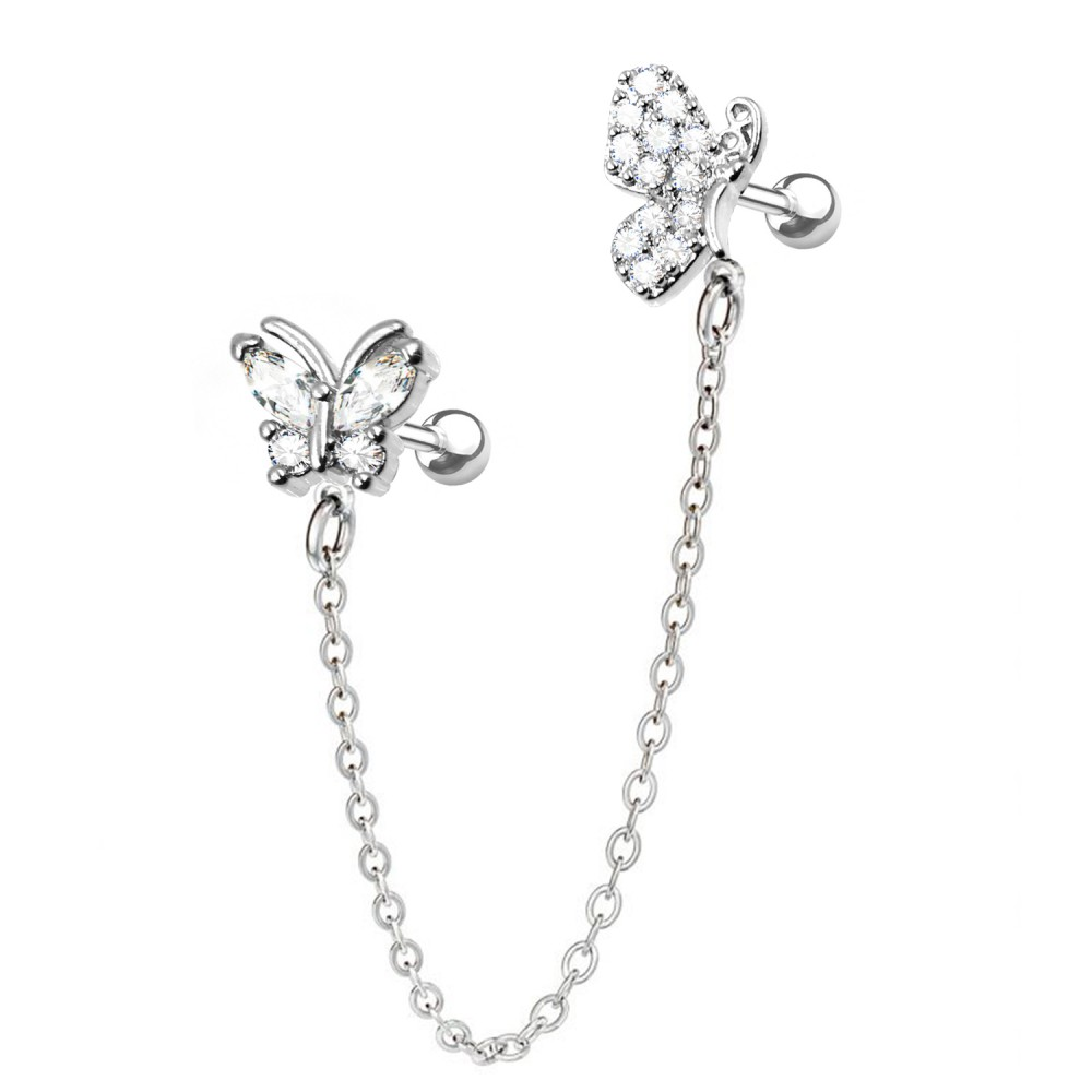 Helix/Tragus Barbell of Butterfly with Chain