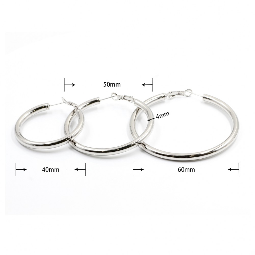 Large Vintage Hoop Earrings a Pair