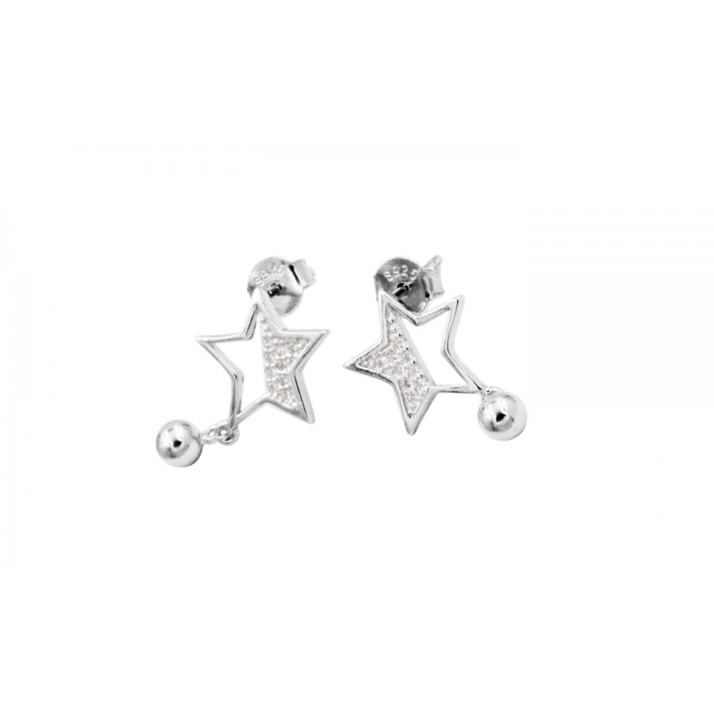 Silver Star Earrings with Crystals