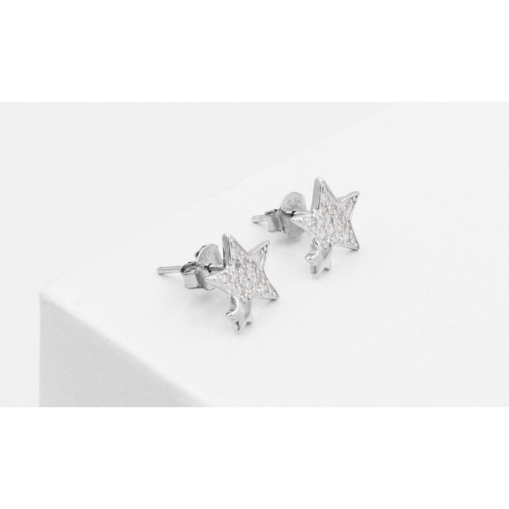 925 Silver Star Earrings with Crystals