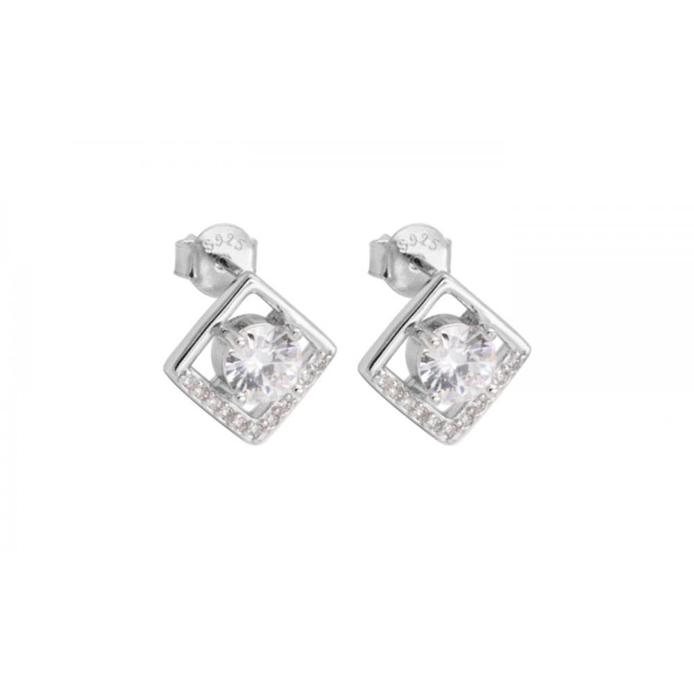 Square Earrings with crystals in 925 Silver