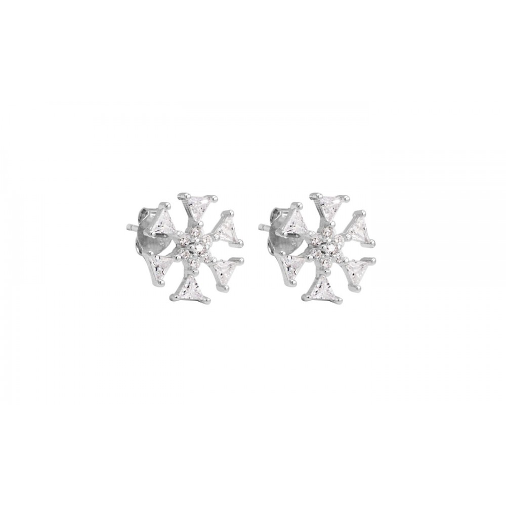 925 Silver Snowflake earrings with crystals