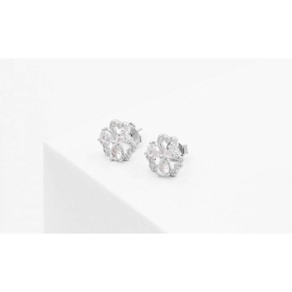 Flower Earrings with Crystals in Silver