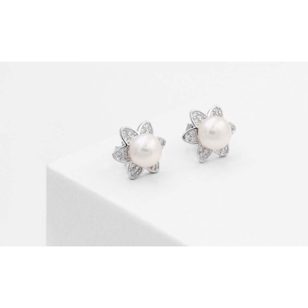 Flower Earrings with Pearl in Silver