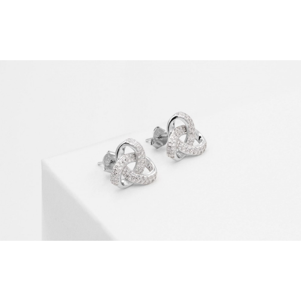 925 Silver Celtic Knot Lobe Earrings with Crystals