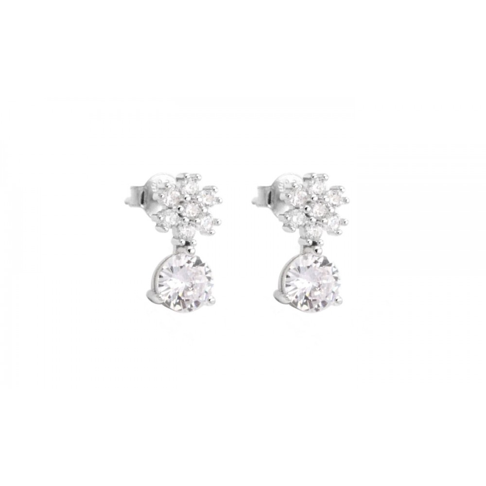 Flower Earrings with Crystals in 925 Silver