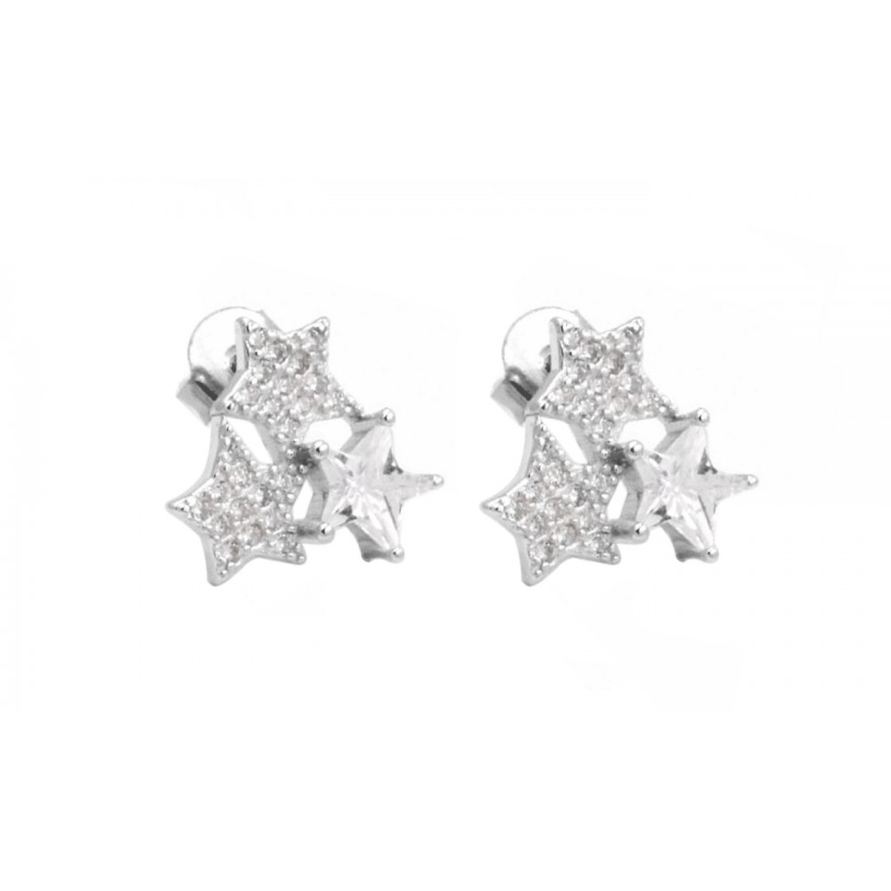 Star Stud Earrings with Crystals