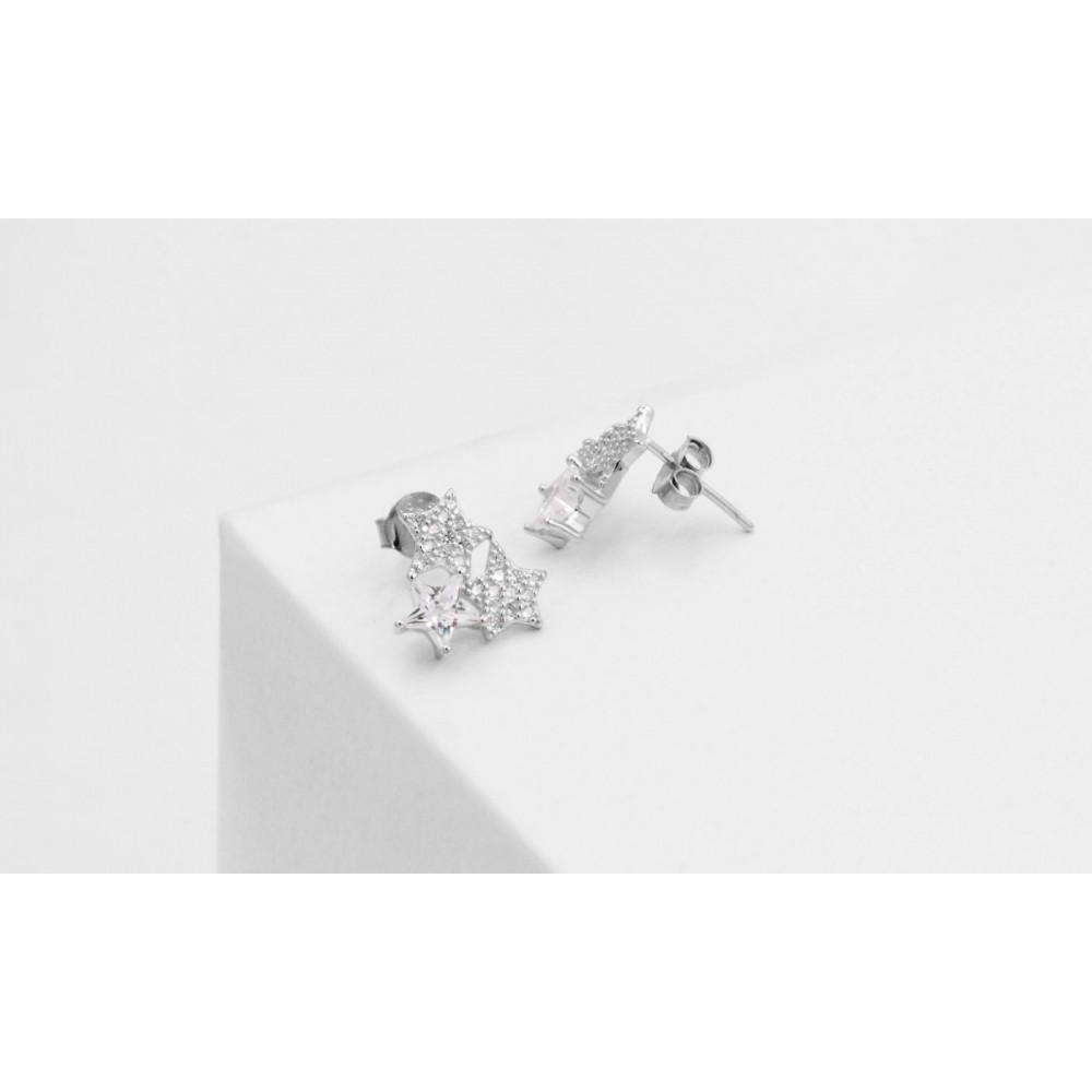 925 Silver Star Stud Earrings with Crystals