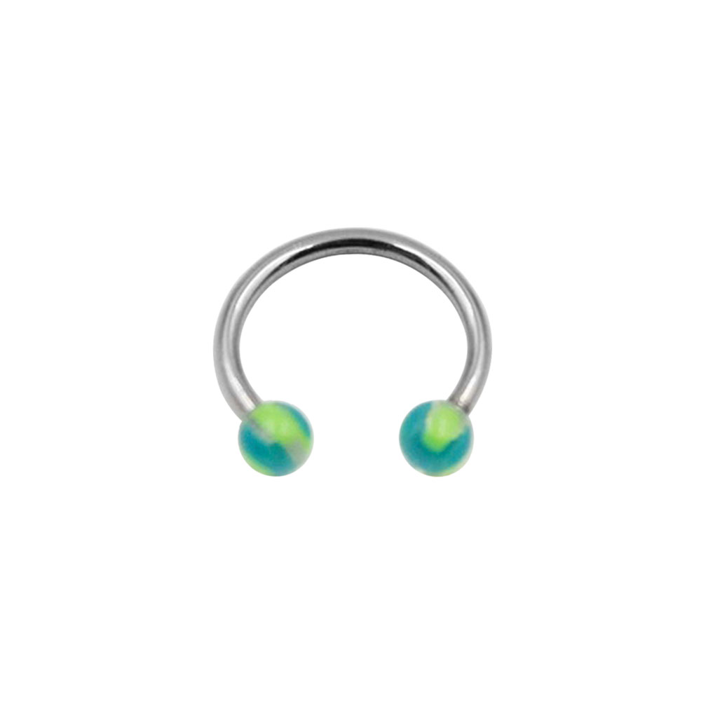 Circular Ring with Small Green and Blue Balls