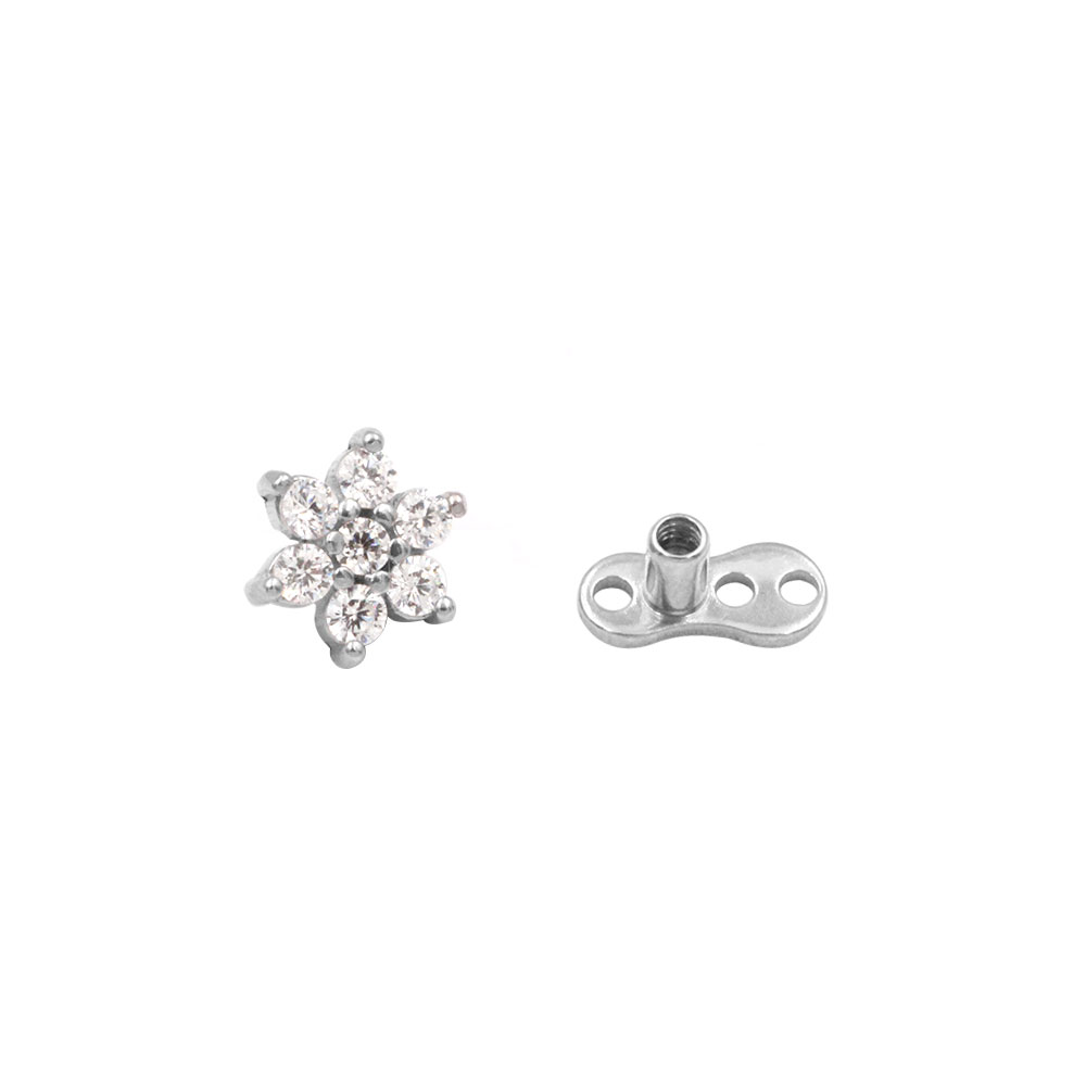 Dermal Anchor Crystal  Flower