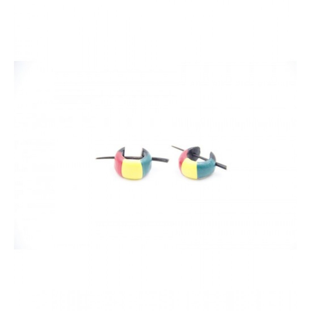 Wooden Earring Vertical Multi-Color