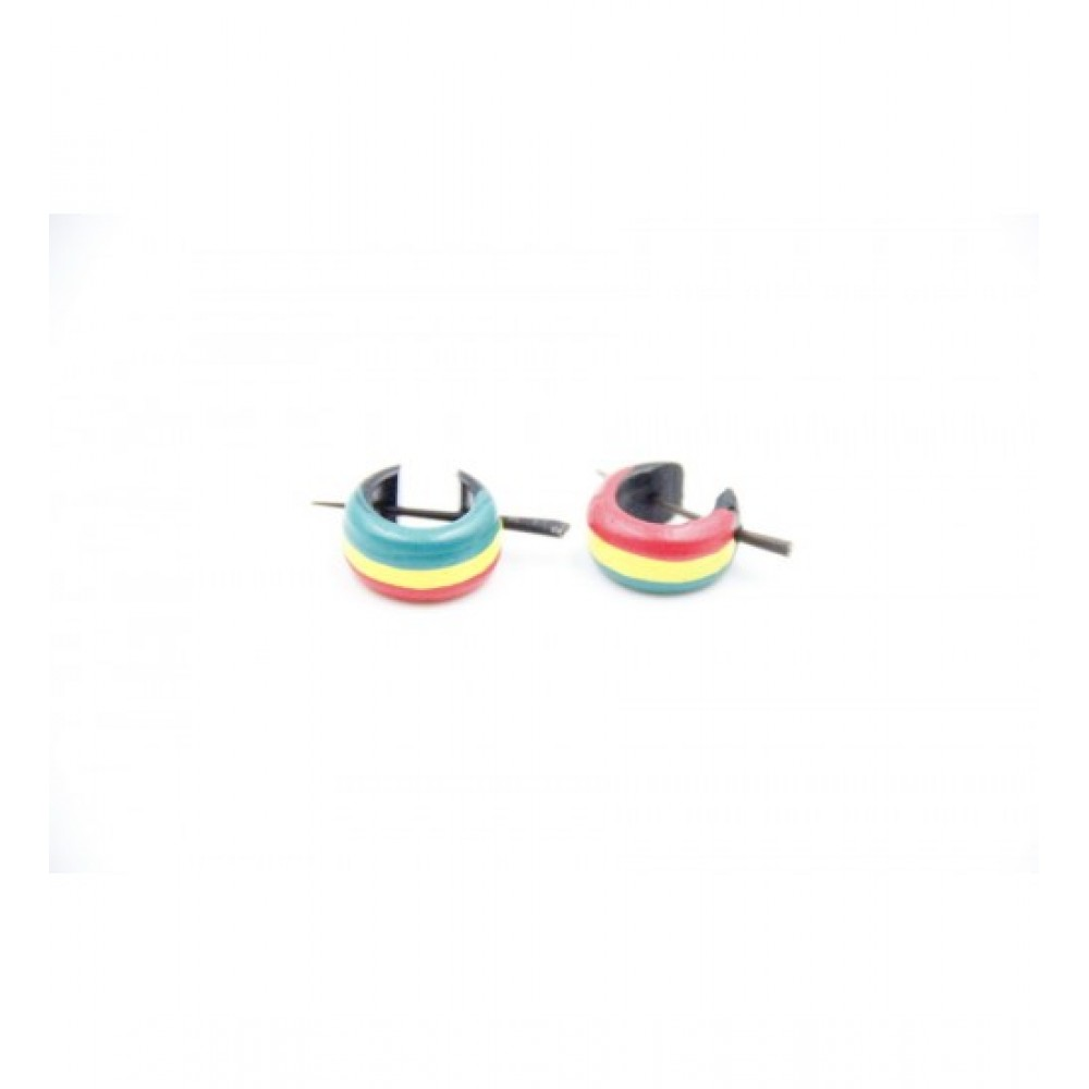 Wooden Earring Horizontal Multi-Color
